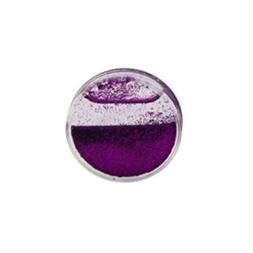 Gekko Body Jewellery Tunnel / Plug / Expander, Acryl, Keilrahmen, Violett, Flüssig, Mit Glitzer, 26 mm