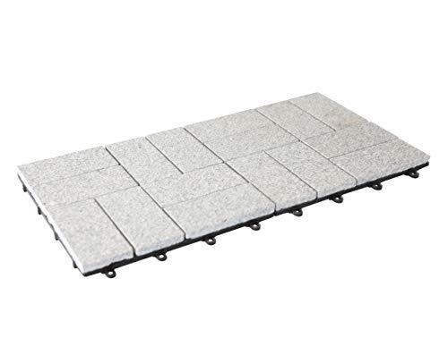 BodenMax Granit Lamellen Muster Mosaik Click Bodenfliesen Set 30 x 30 cm Terassenfliesen Terassenplatte Stein Außenbereich grau Muster Stück(2 Stück) 0.18 qm
