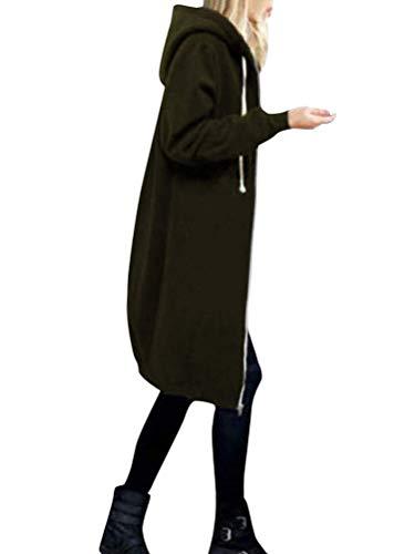 Onsoyours Dose Over Damen Herbst Winter Outing Stil Frauen Warm Reißverschluss Öffnen Clubbing Dating Elegante Hoodies Sweatshirt Langen Mantel Jacke Tops Outwear Hoodie Armeegrün 34