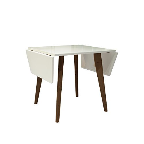 NPET Extendable Dining Table Mid-Century Modern Matte White and Teak Finish Indoor Table