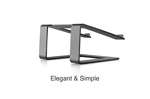 Mingo Premium Aluminum Macbook Stand, Macbook Pro Stand, Laptop Stand for Desk, Stand for Laptops and Other Tablets - Up to 17 inches (Apple Space Gray)