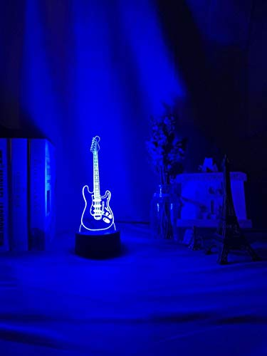 3D Night Lamp Musical Instrument Baby Night Light Led 7 Colors Changing Bedroom Decor Light Guitar Gift for Kids Girls Table USB Lamp Bass-Fernbedienung