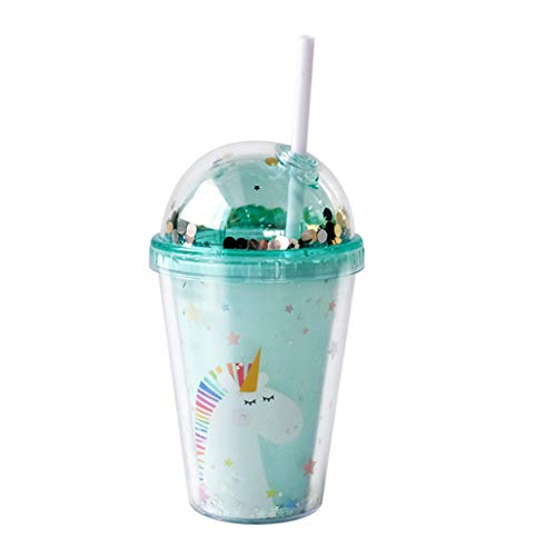 PROTAURI 380 ml Plastik Becher mit Deckel und Strohhalm - Einhorn Doppelwandig Trinkbecher Kaffeebecher Isoliert Trinkflasche Tasse für Saft Kaffee Smoothie Milk/Kinder und Erwachsene