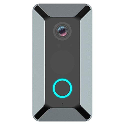 DDELLK Draadloze video-deurbel met camera, 140 graden groothoek-nachtzicht 720P HD waterdicht, 2-weg audio-talk real-time gesprek en video app-afstandsbediening grijs