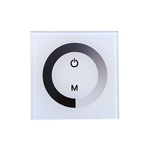 Nannigr Tira de luz LED, un Solo Color 12V-24V Interruptor de Pared de Panel táctil de un Solo Canal Interruptor de 12v Luz LED Interruptor de atenuación de luz LED para el hogar(Blanco)