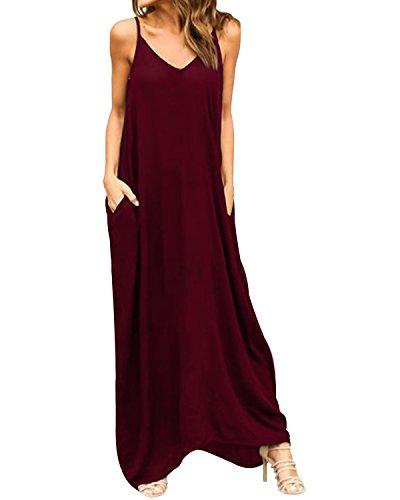 ACHIOOWA Mujer Vestido Elegante Playa Casual Dress Cuello V Sin Manga Túnica Sin Hombros Escote Punto Bolsillo Caftán Oversize Falda Larga Rojo-Vino S