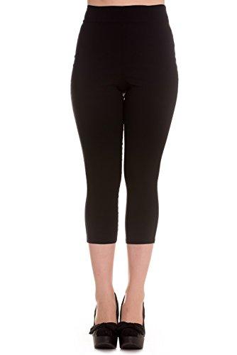 Hell Bunny Tina Capris Black Pants Pedal Pushers Rockabilly Retro Inspired (XL)