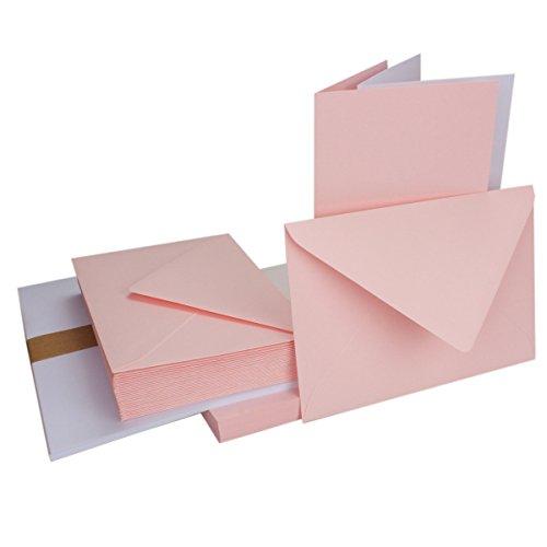 50Sets–plegable Tarjetas Color Rosa–Din B6+ sobres + Plantilla hojas–PREMIUM CALIDAD–Muy Estable–Marca de calidad: neuser Color froh