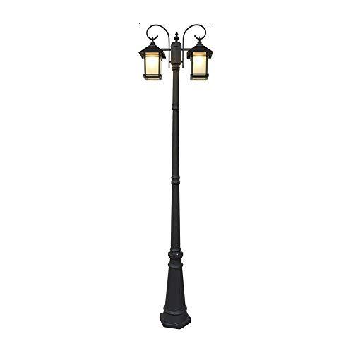 Lámpara de columna de paisaje de poste alto de luz de bolardo rural americano moderno Lámpara de carretera impermeable victoriana Luz de césped al aire libre Luz de calle de vidrio de aluminio clásico