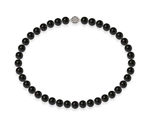 Schmuckwilli Damen Muschelkernperlen Perlenkette Dunkel Schwarz Magnetverschluß echte Muschel 42cm dmk0004-42 (8mm)