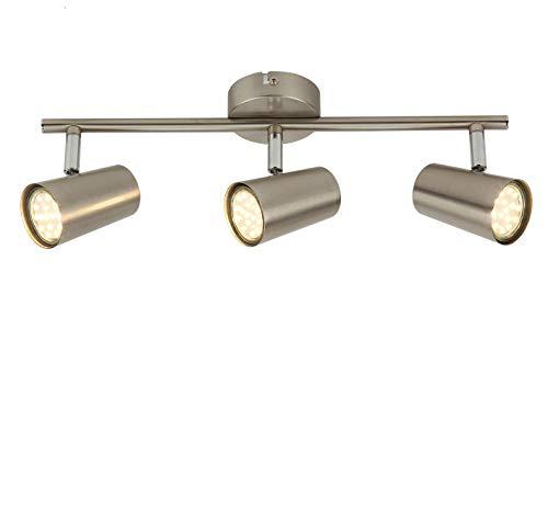 SEESEER LED Deckenleuchte Spotbalken Drehbar, 3-Flammig LED Strahler Deckenlampe Spot,3W GU10 230V IP20 Metall Warmweiß LED Deckenstrahler, Modern Deckenspots für Küche, Wohnzimmer, Schlafzimmer