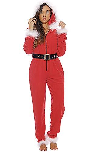 Bowanadacles - Disfraz de Papá Noel, vestido de terciopelo con capucha y media manga, para fiesta de Navidad o cosplay Rosso-pagliaccetto S