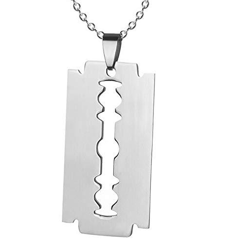 Halskette Männer Rasier-Klinge Messer Anhänger Herren Halskette Edelstahl-Kette in Silber Geschenk-Idee für Mann Ehemann