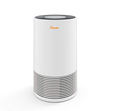 Crane Tower Air Purifier with True HEPA Filter EE-5067, 4 Output Settings, Standard, 250 Sq Feet Coverage, Timer Function, Sleep Mode, Washable Particle Filter, White