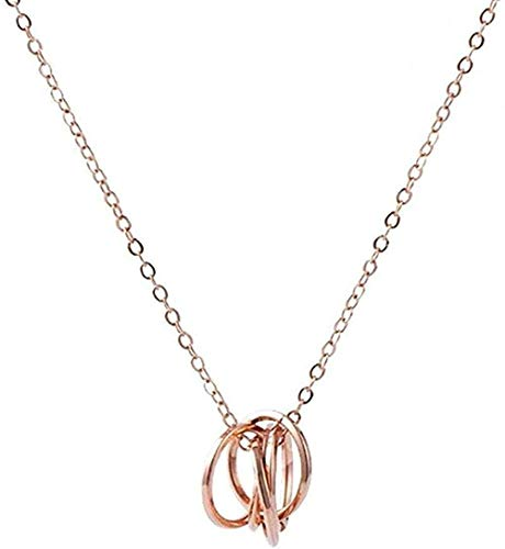 NC190 Collar Elegante Collar con Colgante de Cinco círculos Collar de Cinco Anillos Collar de joyería de Aniversario de Boda para Mujer