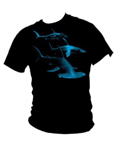 Blue Ray T-Shirts Herren T-Shirt Great Hammerhead Shark Deep Blue Pacific Ocean Tauch-T-Shirt Gr. M, Schwarz