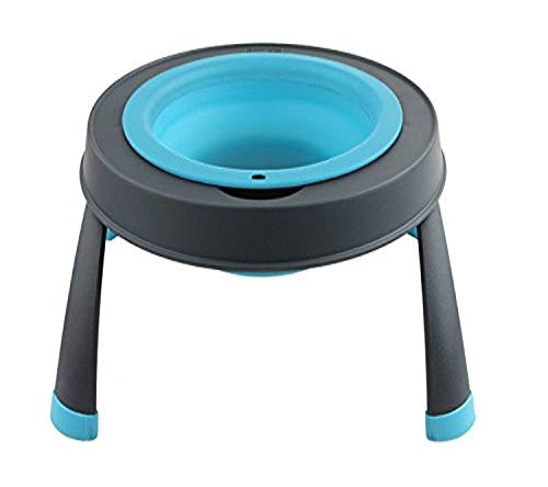 Dexas Popware for Pets Single Elevated Pet Feeder, Large, Gray/Blue