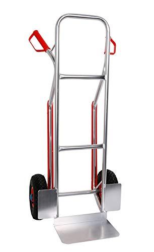 Sackkarre Aluminium Gleitkufen 200 kg 117x46x54, Luftbereifung (Transportkarre Stapelkarre Handkarre, Umzugskarre, leichte Sackkarre aus Aluminium für Umzug)