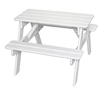 Little Colorado Classic Toddler Picnic Table – Easy Assembly Kids Picnic Table/for Indoor and Outdoor Use/Handcrafted in The USA  Solid White