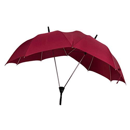 milageto Mode großer regenschirm kreative liebhaber regenschirm doppelpol doppelte top einteiliger selbst öffnender regenschirm - Rot