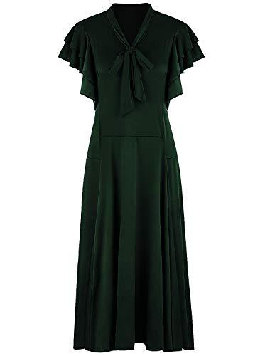 VIJIV Womens Vintage 1920s Evening Gown V Neck Long Bias Cut Sleeveless with Flutter Sleeves Bowknot Roaring 20s Great Gatsby Dresses Green Medium