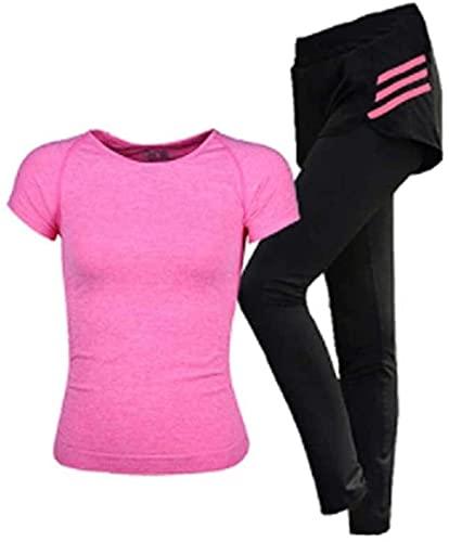 Samantha Ropa Deportiva de Moda Traje de la Ropa de Yoga de Dos Piezas de Las Mujeres Gimnasio Que Corre el Gimnasio Ropa de Secado rápido Ropa Deportiva (Color : Pink, Size : S)