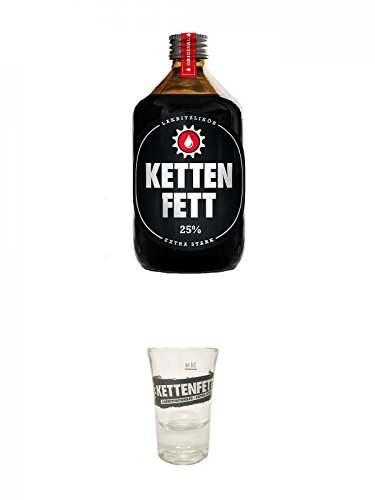Kettenfett Lakritz Likör 0,5 Liter Kanne + Kettenfett und 1 Shot Glas
