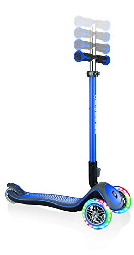 Globber Unisex Jugend Elite Deluxe, Navy-blau mit Leuchtrollen Scooter, One Size