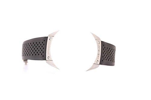 Uhrenarmband für Tag Heuer, 22/20mm, perforierter Gummi in Schwarz, silberfarbene Schließe