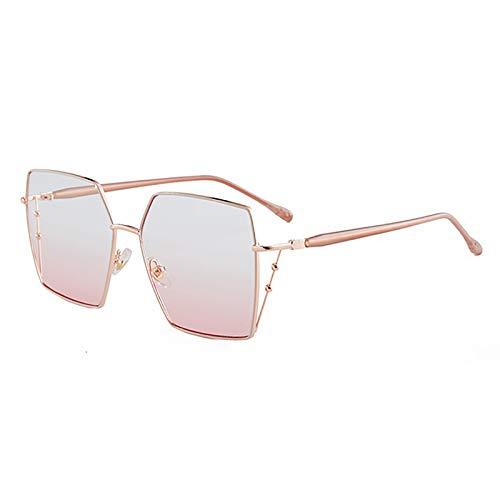 HFSKJ Gafas de Sol, Gafas de Sol poligonales Irregulares Gafas Retro cuadradas de Metal Las Gafas Populares Son adecuadas para Hombres y Mujeres,E