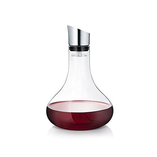 blomus -ALPHA- Dekantierkaraffe aus Glas, komfortables & tropffreies Eingießen Wein, Filter & Belüftung, Ein-Hand-Bedienung, spülmaschinenfest (H / B / T: 26,5 x 18 x 18 cm, Glas / Edelstahl, 63570)
