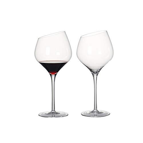 Copas de Vino Juego de 2 Copas de Vino de Cristal sin Plomo Vidrio de Vino Rojo en Bisel for el Regalo del Partido de la Boda de Cristal de Vidrio de Vino Blanco Copas de Vino (Capacity : 501 600ml)