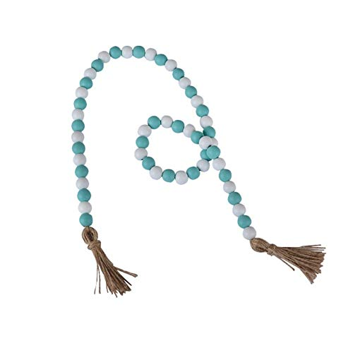 LHZUS Wood Bead Tassel Farmhouse Decoration Pink Wooden Beads String Ornaments Country Style Farmhouse Decor (Color : E blue, Size : One Size)