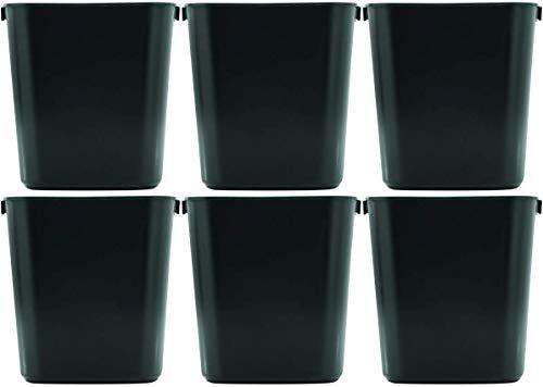 Rubbermaid WCFMBLNU 295500BK Deskside Plastic Wastebasket, Rectangular, 3 1/2 gal, 6 - Pack