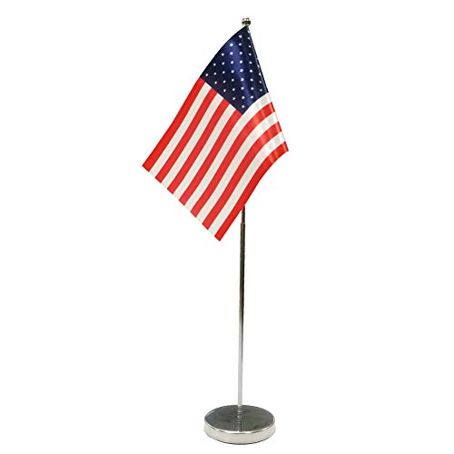 Bandera de Mesa de los Estados Unidos 9'x 6' - Americana Banderina de Despacho Contiene Bandera de Mesa Palo y Pedestal - USA
