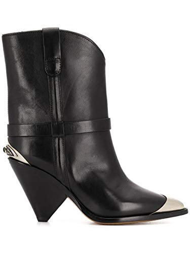 Luxury Fashion | Isabel Marant Dames BO019420P008S01BK Zwart Leer Enkellaarzen | Seizoen Permanent