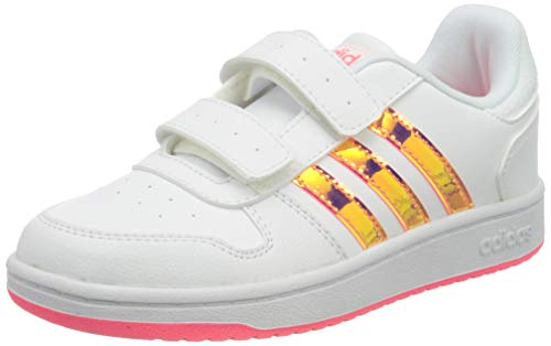 adidas Unisex-Kinder Hoops 2.0 CMF C Sneaker, Ftwbla/Ftwbla/Rossen, 33 EU