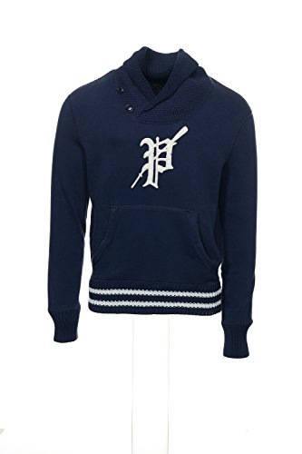 Polo Ralph Lauren Mens Letterman Pullover Rugby Shawl Sweater Navy White Small