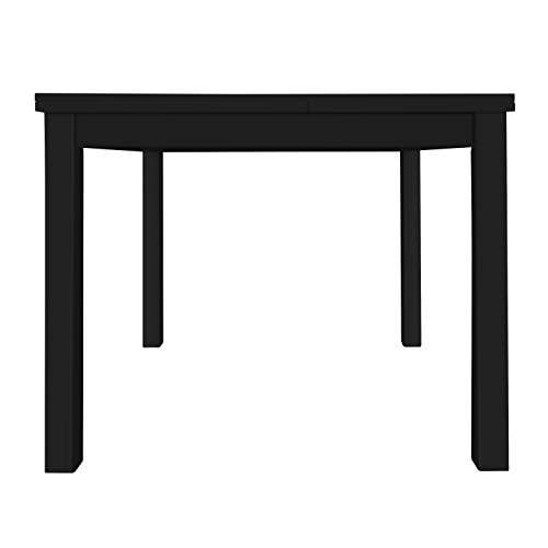 Furniture 247 Extendable Solid Wood Dining Table, Seats 4-6, 150 x 80 x 76cm, Oak, Black