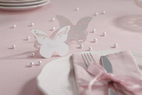 Ginger Ray Tischkarten Schmetterling, lasergeschnitten, Weiß, 10 Stück