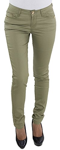 Damen Kunstlederhose Bikerhose Röhrenhose Skinny Leder Look Slim Fit Lederimitat Khaki J2025-04 L/40