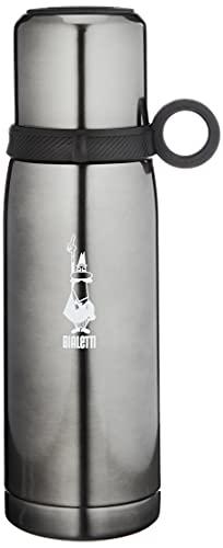Bialetti TZ Ml.460 To Go Bottiglia Termica con Coperchio-Tazza (con Doppia Parete), Mantiene Il Caldo per 12 h e Il Freddo per 24 h, capacità 460 ml, Acciaio, Dark Grey, Grigio Scuro