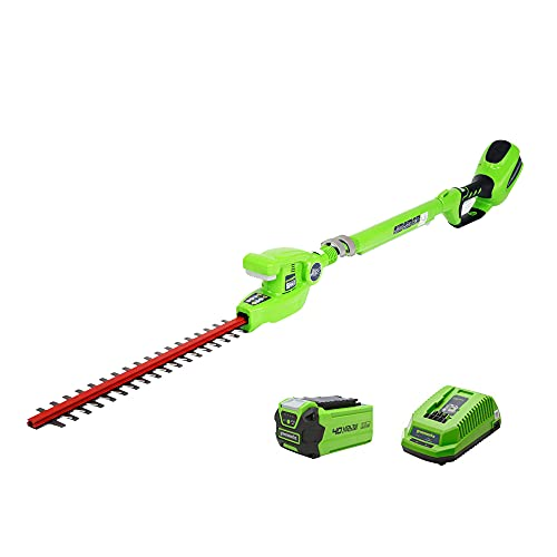 GreenWorks 22272 G-MAX Extended Reach Hedge Trimmer - G-MAX 40V 2 AH Li-Ion Battery and Charger Inc.