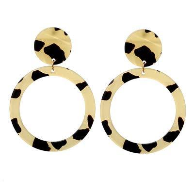 Burenqi Oorbel Metaal Verklaring Drop Oorbellen Voor Vrouwen Mode Sieraden Ronde Geometrische Goud Hanger Oorbel Hanger