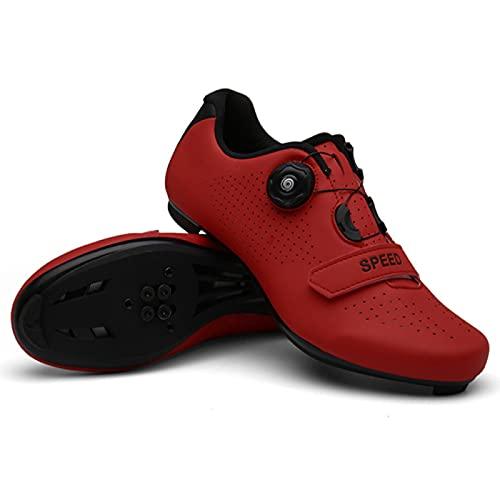 WYUKN Zapatillas Ciclismo Hombre Mujer,Carretera Montaña MTB Bicicleta Zapatillas Antideslizantes Transpirables,Red-45EU