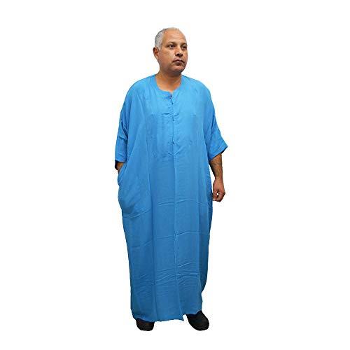 Chilaba, Djelaba, Galabeya, Baumwolle Kandora, marokkanisch, eine Größe für alle und sogar sehr dicke Menschen, misst 90 cm breit und 150 cm lang. Es schrumpft nicht (Hellblau)