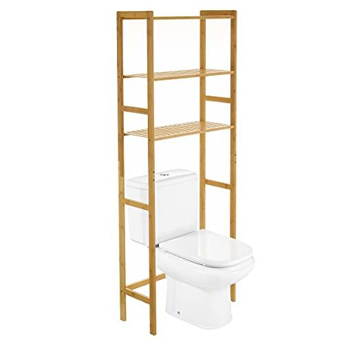 Estantería de baño sobre WC de 3 estantes de bambú Natural de 60x25x161 cm - LOLAhome