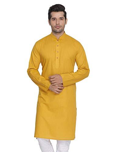 STYLE INSTANT - Conjunto de Pijama de algodón para Hombre, Estilo Tradicional Indio, para Festival de Puja Amarillo Mostaza Large