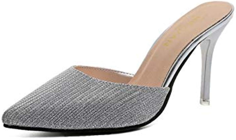ProDIgal Women's Pointy Toe Mules shoes Stiletto Kitten Heel Slide Sandals
