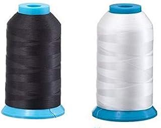 مجموعة من 2 خيط من Bobbin الضخم للخياطة والتطريز 1 أسود و1 أبيض 5500 ياردة لكل واحدة - بوليستر - التطريز - 90 الوزن